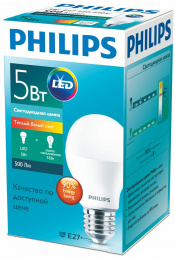 Philips Лампа LED 5W E27 3000K A60 PHILIPS